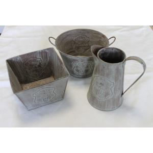 Set Schenkkan 16 cm. Ant Grey + Pot rond handvat 18 cm. Ant Grey + Pot vierkant 15 cm. Ant Grey